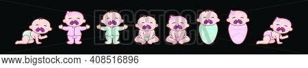 Set Of Crying Baby Cartoon Icon Design Template With Various Models. Modern Vector Illustration Isol