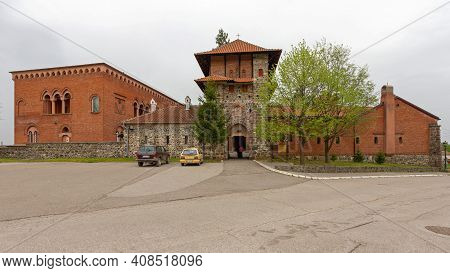 Kraljevo, Serbia - April 16, 2018: Zica Medieval Serbian Orthodox Monastery Complex Exterior.