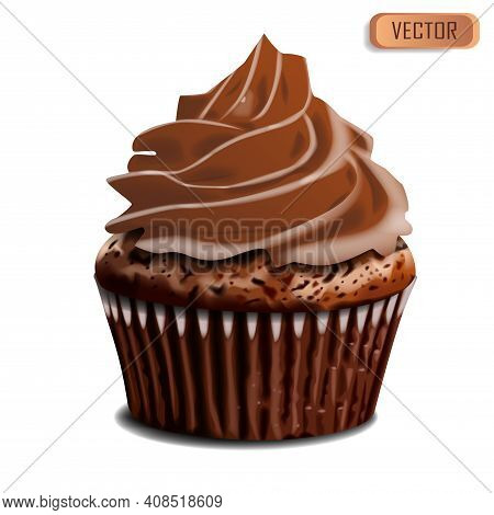 Chocolate Cupcake, Delicious Creamy Muffin Realistic Vector Illustration. 3d Muffin Chocolate Bake D