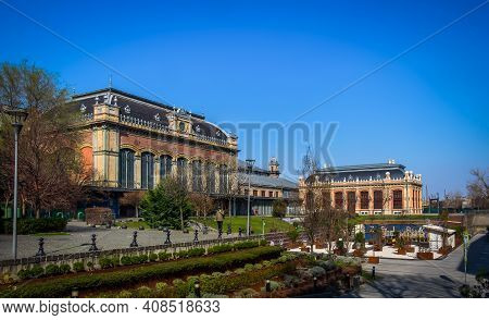Budapest, Hungary, March 2020, View Of The Side Of The Nyugati Railway Station Building One Of The T