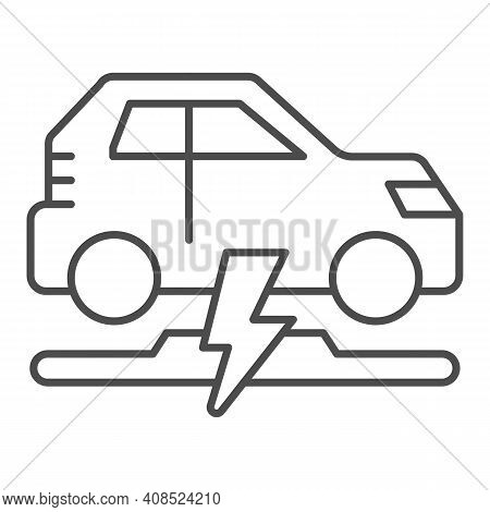 Wireless Charging Of Electric Car Thin Line Icon, Electric Car Concept, Electric Car Charging Point