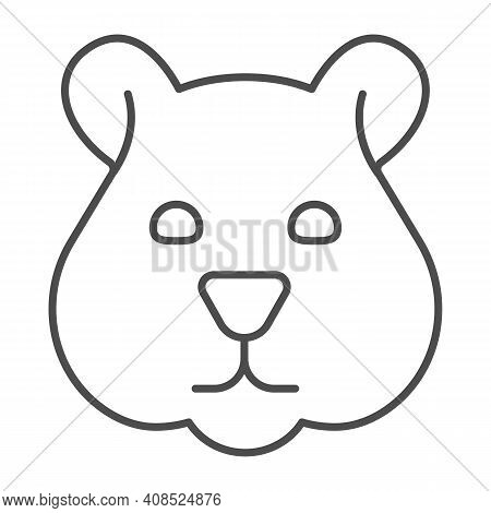 Hamster Head Thin Line Icon, Domestic Animals Concept, Rodent Silhouette Sign On White Background, H
