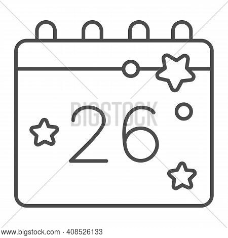Calendar With Thanksgiving Day Thin Line Icon, Thanksgiving Day Concept, Twenty Eighth Of November D
