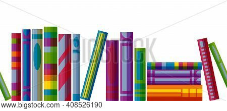 Bookcase Shelf Seamless Pattern. Horizontal Pattern With Books In Cartoon Style. Vector Illustration