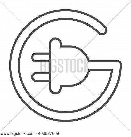 Cord With Plug In Circle Shape Thin Line Icon, Electric Car Concept, Electric Plug Sign On White Bac