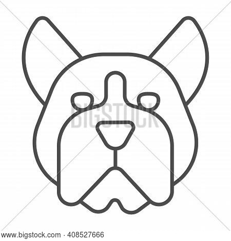 Bulldog Head Thin Line Icon, Domestic Animals Concept, Dog Sign On White Background, Angry Bulldog H