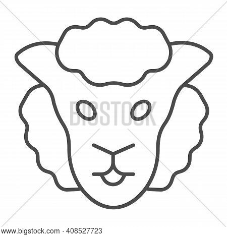 Sheep Head Thin Line Icon, Domestic Animals Concept, Lamb Sign On White Background, Sheep Portrait I