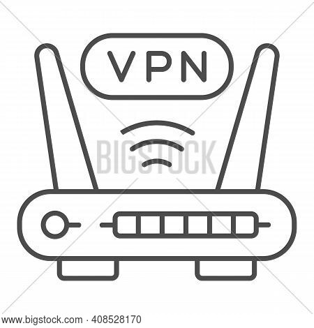 Router With Vpn Connection Thin Line Icon, Web Security Concept, Virtual Private Network Sign On Whi