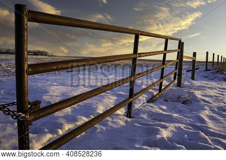 A Steel Gate Attached To A Barbed Wire Fence On The Alberta Prairies In Rocky View County Under A Su
