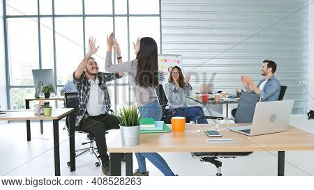 Office Teamwork Celebration Working Happiness Happy Business People Dance Expression Together At Off