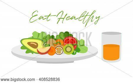 Vegetables And Fruits On Plate And Orange Juice In Flat Design. Salad Bar For Healthy Meal. Vegetari