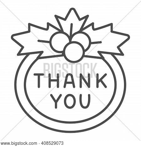 Berries And Thank You Sign Thin Line Icon, Thanksgiving Day Concept, Berries And Sign Of Gratitude O