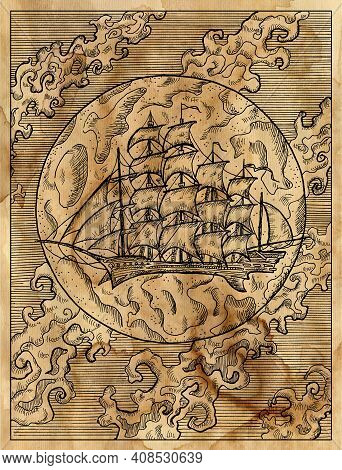Textured Marine Illustration With Old Sailing Ship Or Sailboat Against Full Moon And Clouds.  Nautic