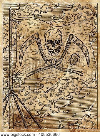 Textured Marine Illustration With The Jolly Rodger Pirate Flag With Skull And Scythe Hanging On Ship