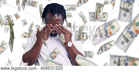 Young african american man with braids wearing casual white tshirt rubbing eyes for fatigue and headache, sleepy and tired expression. vision problem