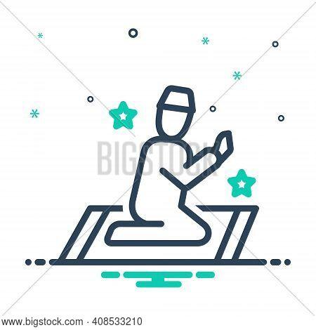 Mix Icon For Prayer Invocation Devotion Supplication Namaj Worship Benediction Muslim Religion