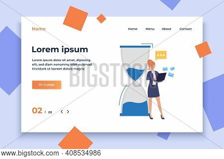 Sandglass And Businesswoman Answering Mails Vector Illustration. Time Management, E-mail, Correspond