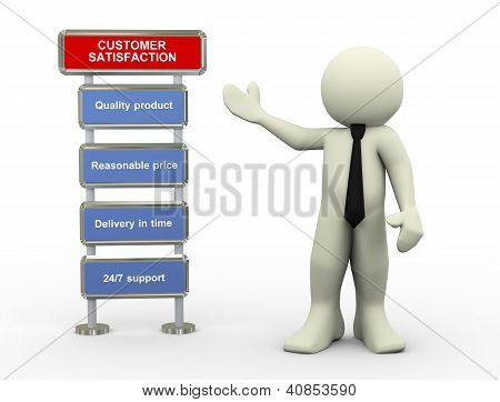 3D Businessman And Customer Satisfaction