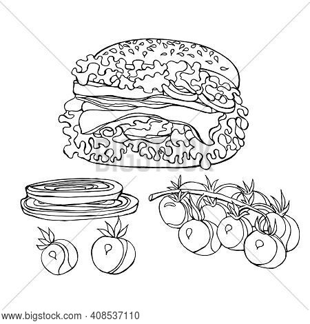 Vector Illustration Of Fast Food Hamburger On White Background.