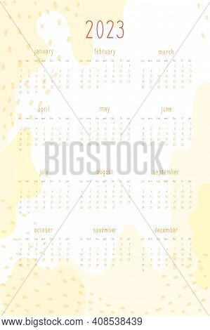 2023 Calendar Set For Personal Planner And Notebook. Warm Yellow Hand Drawn Abstract Spots And Dots,