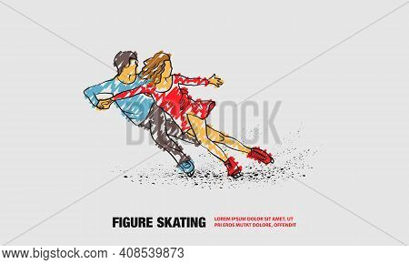 Professional Pair Figure Skating Sport. Vector Outline Of Figure Skating Sport With Scribble Doodles