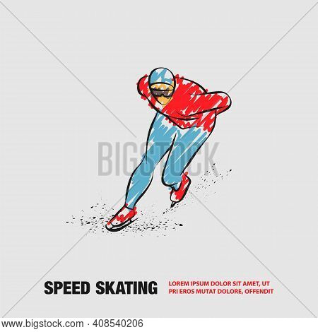 Speed Skater. Vector Outline Of Winter Sport With Scribble Doodles Style Drawing.