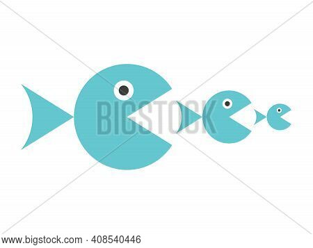 Three Blue Round Fishes Eating Each Other Isolated On White. Food Chain, Takeover, Merger, Competiti