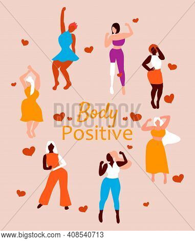 Body Positive Girls. Love Your Body. Different Skin Color And Body Size Women Characters Dancing On