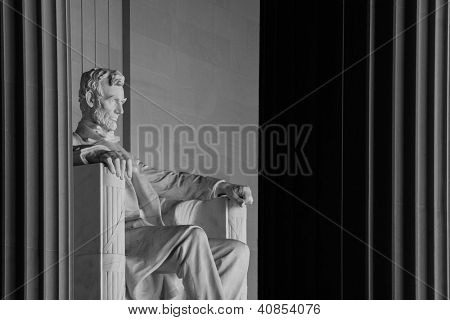 Abraham Lincoln Statue detail at Lincoln Memorial - Washington DC, United States