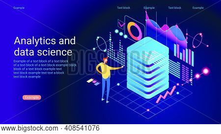 Concept Of Data Research, Technology, Data Analysis And Science. Modern Flat Design Isometric Concep