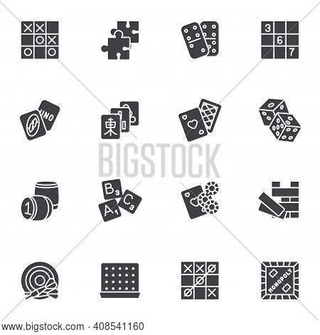 Board Games Vector Icons Set, Modern Solid Symbol Collection, Filled Style Pictogram Pack. Signs, Lo