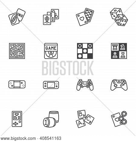 Video And Board Games Line Icons Set, Outline Vector Symbol Collection, Linear Style Pictogram Pack.