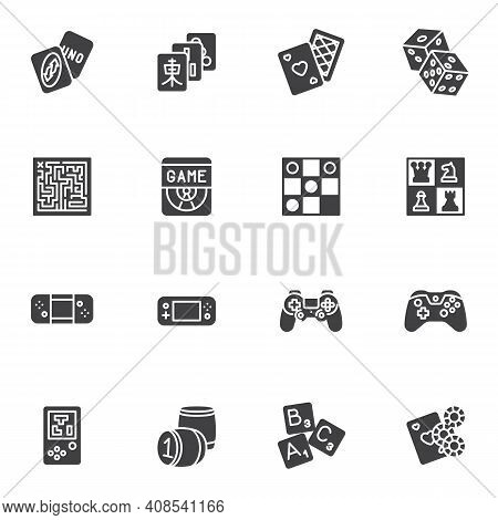 Video And Board Games Vector Icons Set, Modern Solid Symbol Collection, Filled Style Pictogram Pack.