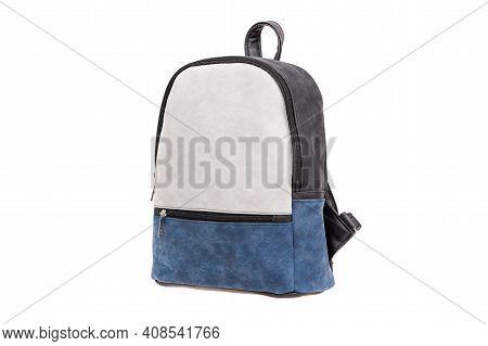 White Blue Leather Modern Handbag, Backpack. Isolated On White. Fashion Bag.