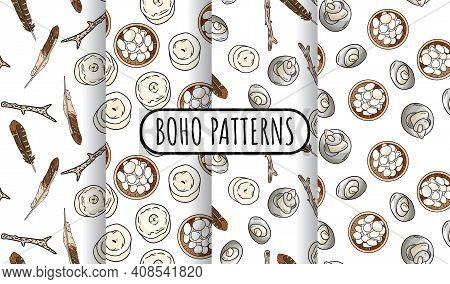 Set Of Bohemian Seamless Border Patterns. Indigenous Bohemian Doodles Background. Hand Drawn Hygge W