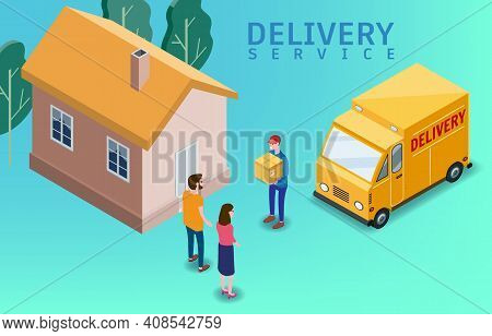Isometric Express And Delivery. Courier Shipping To Couple Woman And Man A Cardboard Box. Free Shipp