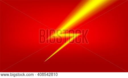 Banner Flash Sale With Thunder Light On Red For Shopping Background