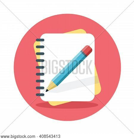 Notebook With Pencil Icon. Writing Tasks Concept. Vector Illustration Isolated On White Background