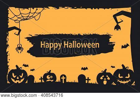 Grunge Halloween Background With Pumpkins, Bats, Cemetery And Spiders. Vector Illustration