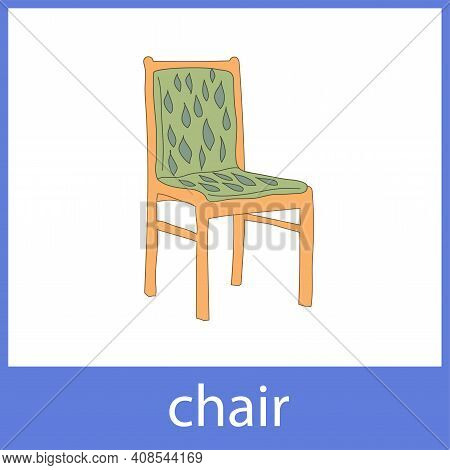Chair. Cushioned Furniture. English Vocabulary Word Card.