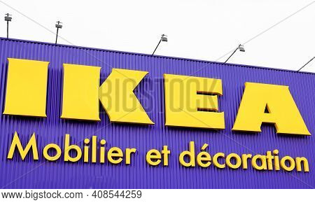 Bordeaux , Aquitaine France - 02 13 2021 : Ikea Brand Logo And Text Sign Of Shop Low Cost Furniture