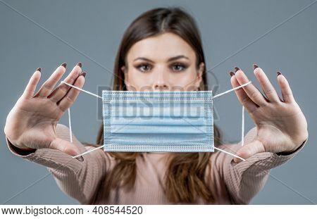 Girl Wearing Protective Mask. Woman Wearing Surgical Mask For Corona Virus. Woman Wearing An Anti Vi