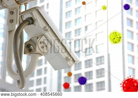 The Cctv Camera With Illustration Of Corona Virus Outbreak In The Air . The New Technology In The Fu