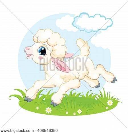 Cute Cartoon Character Lamb Running On A Flower Meadow. Vector Isolated Illustration. For Postcard,