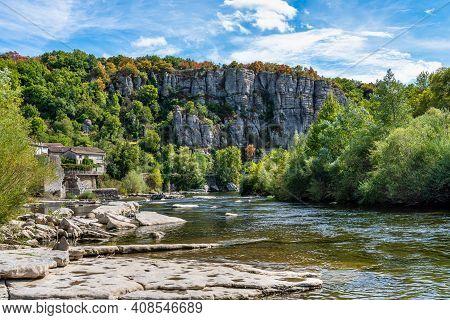 Landscape Around The Medieval Village Of Vogue In Ardeche, Rhone-alpes, Southern France