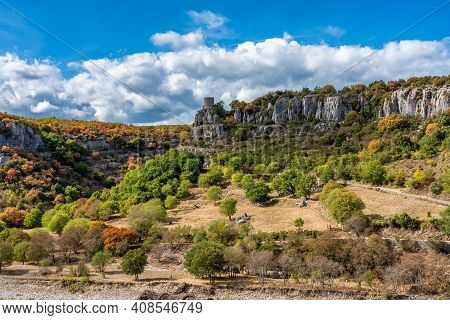 Landscape View Near Balazuc In Southern France, Ardeche District