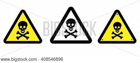 Danger Attention Sign. Warning. Human Skull And Bones On A Triangular Background. Vector Illustratio