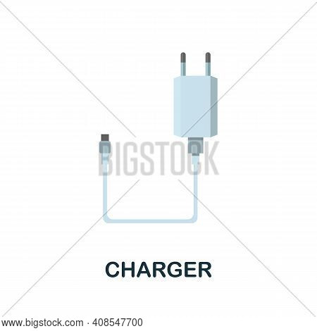 Charger Flat Icon. Color Simple Element From Phone Accessories Collection. Creative Charger Icon For
