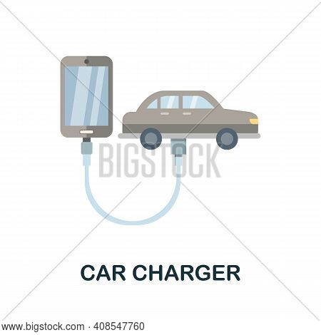 Car Charger Flat Icon. Color Simple Element From Phone Accessories Collection. Creative Car Charger