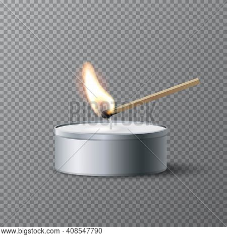Match Igniting Tea Candle Wick. Wooden Match Burning, Grey Round Candle With Wax. Abstract Realistic
